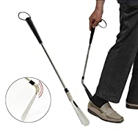 """Metal Shoe Horns, Extra Long Shoe Horn with Flexible End and Double Sided Stainless Steel Travel Shoehorn with Leather Strap Superior for Boots, Shoes and More by Meiso (24"""")"""
