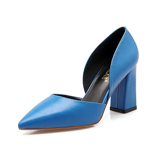 Ziehen Schuhe Pumps Auf Pu Zehe Absatz Spitz Aalardom Blau Damen Leder Hoher qS0nBz