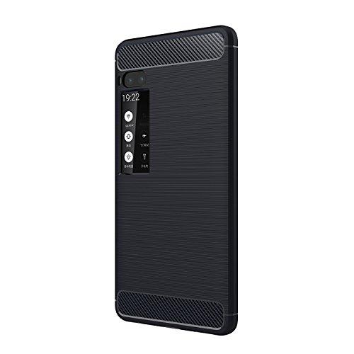 Meizu Pro 7 Plus Hülle - Ultra Dünn Weich TPU Handys Rückseite Hülle Stoßfest Drop Resistance mit Kohlefaser Design Schutzhülle für Meizu Pro 7 Plus Smartphone - Marine blau