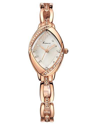Alienwork Damen-Armbanduhr Quarz Rose-Gold mit Edelstahl Metallarmband Weiss Strass Kinder Kinderuhr Glitzer