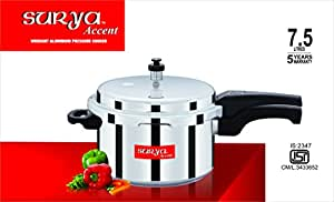 Surya Accent Outer-Lid Aluminium Pressure Cooker-7.5LTRS