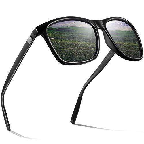 wearPro Sonnenbrille Herren Polarisierte Sonnenbrille Damen Polarisierte Rechteckige Al-Mg Metall Rahme Ultra Leicht Sportbrille WP9003 (Grün, 2.16)