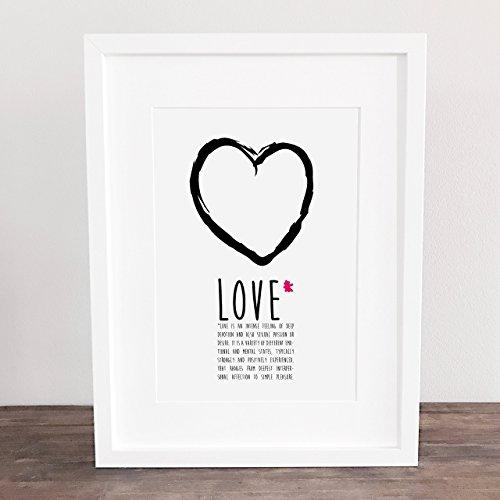 Bild, Poster, Kunstdruck, Deko, Herz, Liebe, handgezeichnet