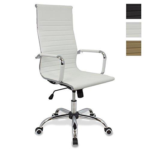 CashOffice - Silla de Oficina PU, Silla de Escritorio Giratoria y Regulable en altura (Varios Colores) (Blanca)