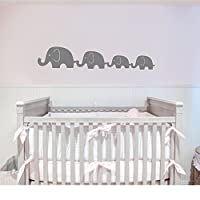 Customwallsdesign Elephant family of 4 decal -Kids Room Decal - Nursery Decal