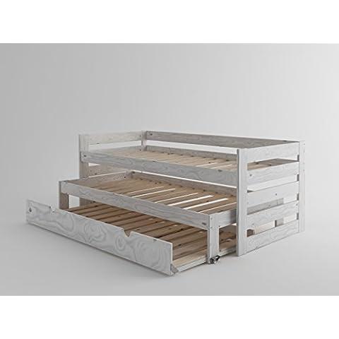LUFE - Cama compacta de madera maciza con lamas y nido (Blanco nórdico)