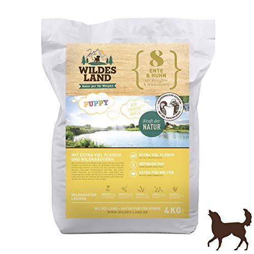Wildes Land | Trockenfutter für Hunde | Nr. 8 Puppy Ente & Huhn | 4 kg | mit Kartoffeln und Wildkräutern | Glutenfrei & Hypoallergen | Extra viel Fleisch Akzeptanz und Verträglichkeit