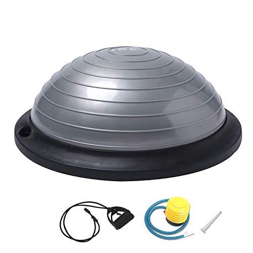 ISE Balance Trainer Ball Ø 46 cm, Attrezzatura Fitness con Corde Elastiche, SY-BAS1003 (Grigio)