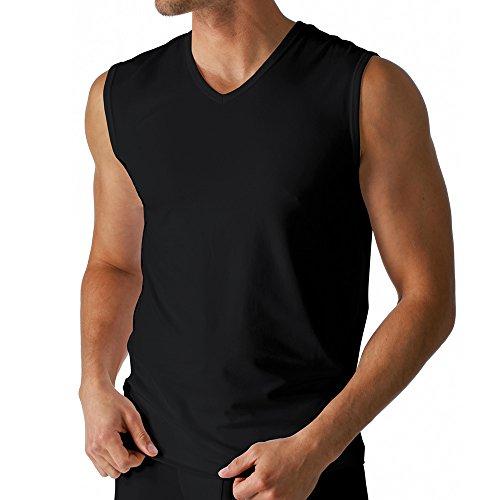 2er Pack Mey Herren Muskel-Shirt - Größe 6 - Schwarz - Tank Top - V-Ausschnitt - Unterhemd ohne Arm - Bi-elastisch - Kühlender Effekt - 46037 Dry Cotton