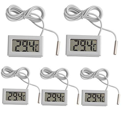 Riuty Termómetro Digital,5pcs Mini LCD Sensor de la sonda del Metro de la Humedad de la Temperatura...