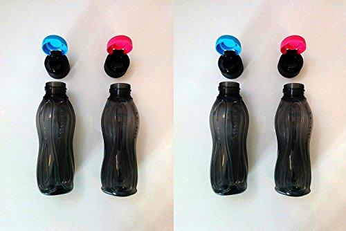 Tupperware Eco schwarz Flip Top Trinkflasche - 310 ml - 4 Stück -