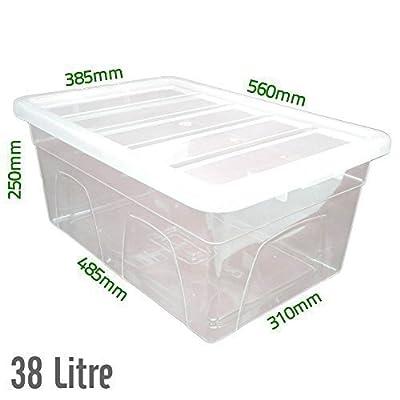 38 L Fassungsvermögen, Kunststoff, Transparent, Robust, Aufbewahrungsboxen / Dosen mit Deckel, Hergestellt Im UK von Elixir - Du und dein Garten