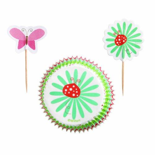 Wilton Modern Garden Party Deko-Set für Cupcakes, Papierförmchen und Stecker/ Picker, 24Stück Wilton Garden