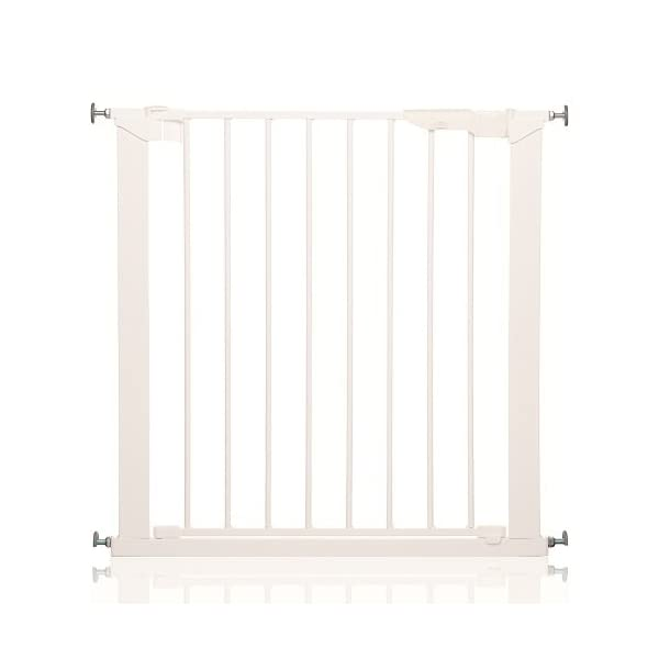 Safetots No Screw Stair Gate, White Safetots Gate fits a standard width: 73.5cm to 79.6cm Fits a maximum width with extensions: 119.3cm Indicator button - highlights when gate has been installed correctly or requires tightening 1