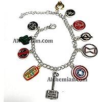 Marvel, bracciale charm con hydra, hulk, deadpool, ironman, thor, capitan america, avengers, bullseye, shield, loki