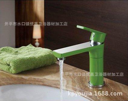 Preisvergleich Produktbild LEI Grün Lack und Chrom Waschbecken Wasserhahn führenden 360 Grad Drehung Color Spray faucetBathroom Waschbecken Wasserhahn