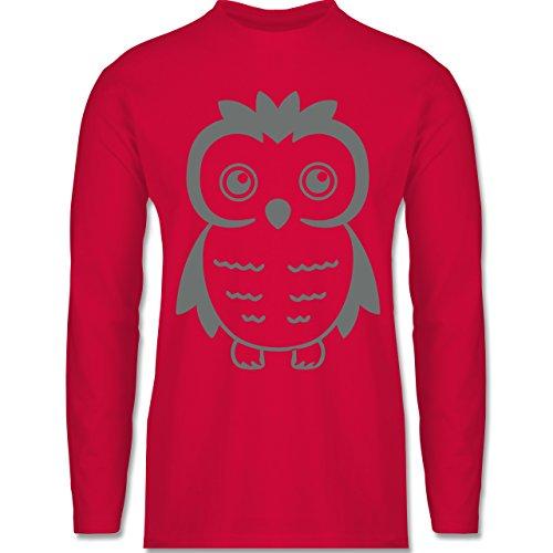 Eulen, Füchse & Co. - Eule - Longsleeve / langärmeliges T-Shirt für Herren Rot