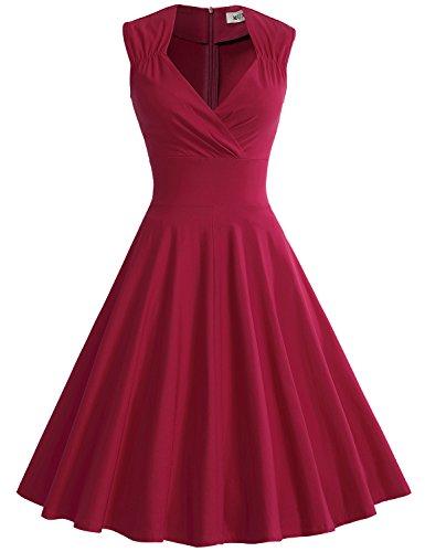 MUXXN Damen Retro 1950er V-Ausschnitt Brautjungfer Party Swing Kleid(L, Burgundy)