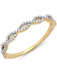 0.18 Carat (ctw) 14 ct Yellow Gold Diamond Swirl Anniversary Wedding Band Stackable Ring 1/5 CT