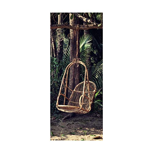 Rattan-peel (HHJJ 3D Tür Aufkleber Abnehmbare wasserdichte Aufkleber Selbstklebende Wand Peel Stick Wohnkultur Tapete, Garten Rattan Stuhl)