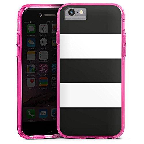 Apple iPhone 8 Bumper Hülle Bumper Case Glitzer Hülle Black and White Muster Pattern Bumper Case transparent pink