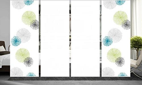 wohnfuehlidee 4er Set Raumteiler Deko blickdicht NESLIE grün, Höhe 245 cm, 2x Dessin/2x weiß -