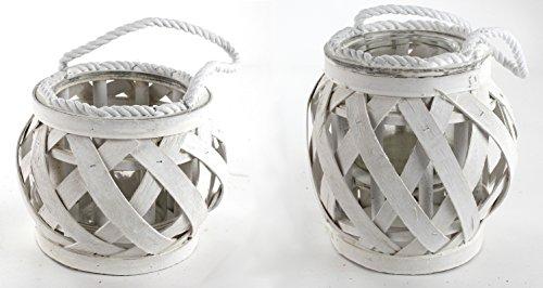 Holz Laterne mit Seil Griff 2 Stück - klein und groß (Holz-laterne-kerze-halter)