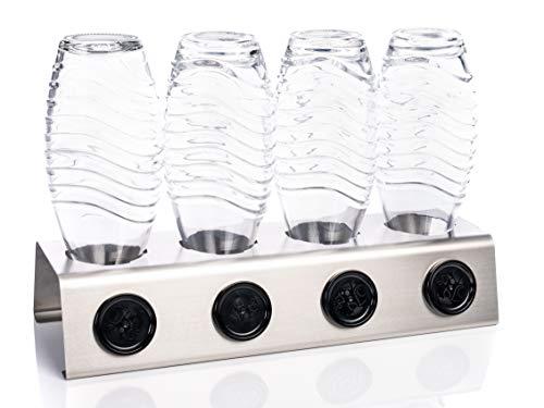 Streambrush Premium Abtropfhalter aus Edelstahl Abtropfständer für z.B. Sodastream Crystal & Emil Flaschen - Flaschenhalter mit praktischer Deckelhalterung | Made in Germany 4X