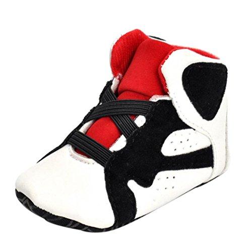 FNKDOR Babyschuhe Mädchen Jungen Neugeborene Weiche Rutschsicheren Baby Kinder Schuhe (12-18 Monate, Weiß) (Ballett-zehe-hausschuhe)