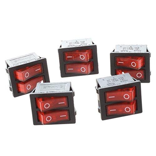 TOOGOO (R) 5 Stueck Rotlicht Beleuchteter Doppel SPST ON/ OFF 6-Pin Wippschalter -