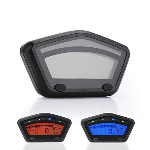 CHUDAN Universal Motorrad Gauge Panel Tacho LCD-Digital Tachometer Kilometerzähler Für Kawasaki Yamaha Ducati BMW Honda Roller Motocross ATV Enduro Zubehör (Höchstgeschwindigkeit - 299 km/h)