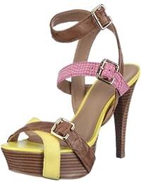 Via Uno Leather Creased-Iguana Creased 21195601 - Sandalias de vestir de cuero para mujer