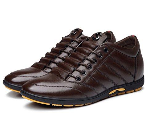 Basket mode homme chaussure de sport augmentation cheville cuir respirant ciseler libre loisir soulier commercial brun sombre