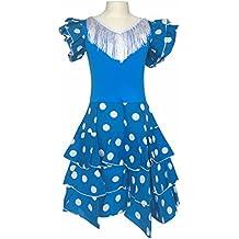 La Senorita Vestido ropa Flamenco Niño Lujo Español Traje de Flamenca chica/niños azul blanco