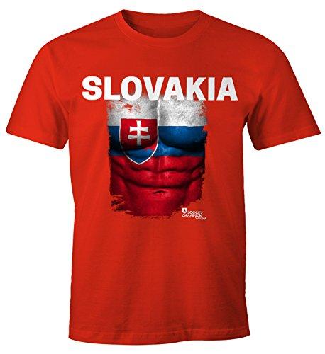 Herren T-Shirt - Fußball EM 2016 Slovakia Slowakei Flagge Fan Waschbrettbauch - Comfort Fit MoonWorks® rot XS