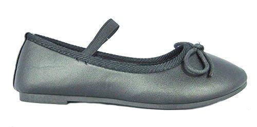 Mädchen Kinder Chix Freizeit Formell Schule Ballerinas Slip On Schuhe Schwarz Matt