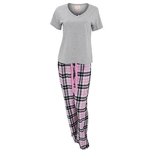 Ensemble T-shirt et bas de pyjama - Femme Gris/Rose