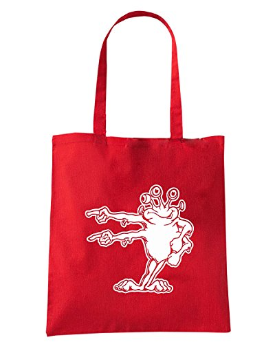 T-Shirtshock - Borsa Shopping FUN0549 alien printed on white decals 2 91527 Rosso