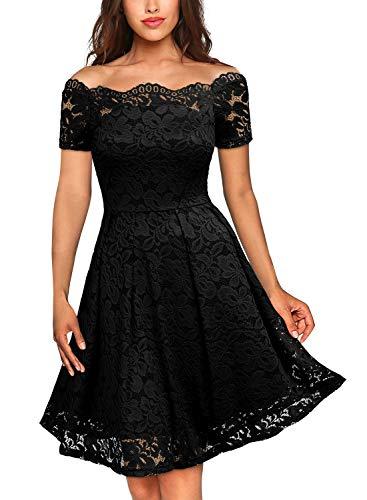MIUSOL Damen Vintage 1950er Off Schulter Cocktailkleid Kurzarm Retro Spitzen Schwingen Pinup Rockabilly Kleid Schwarz (Weiße Spitze Kostüm)