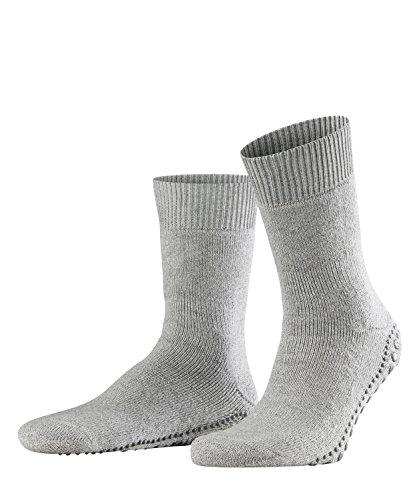 FALKE Herren Homepads Baumwolle Schurwolle ABS rutschfeste Stopper-/Haussocken, Blickdicht, Light Grey, 35-38