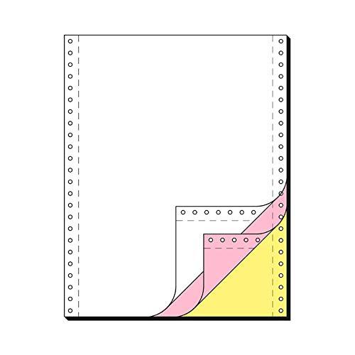 SCHÄFER SHOP Computer Endlospapier 3-fach, selbstdurchschreibend, Längsperforation, blanko, rosa + gelbe Kopie, 600 Stück