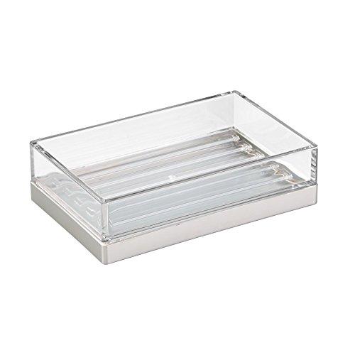 InterDesign 41080EU Clarity Seifenschale aus Glas für Küche oder Bad - Durchsichtig/Gebürstet ABS 12,70 x 8,26 x 3,51 cm