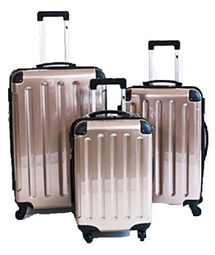 3 teiliges oder Einzeln M L XL Polycarbonat / ABS Trolley Koffer Bordcase Set Hartschale Reisekoffer Kofferset 4 Rollen (3Set, Champania)