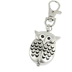 sourcingmap® Metal Night Owl Pendant Lobster Clasp Keyring Key Ring Watch Silver Tone