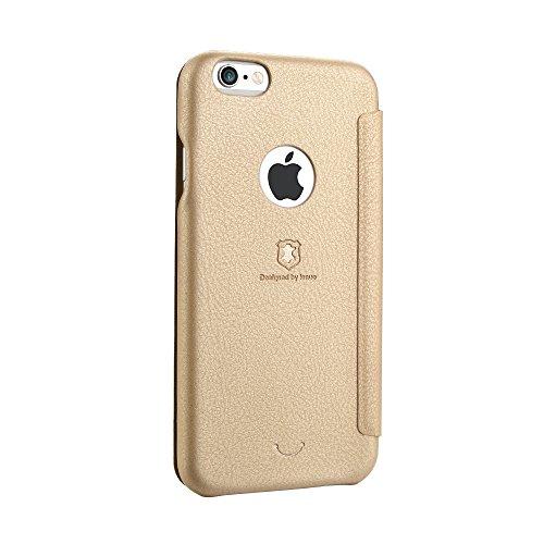 Phone case & Hülle Für iPhone 6 / 6s, PU + PC Litchi Texture Horizontale Flip Leder Tasche mit Kartensteckplätzen ( Color : Red ) Gold