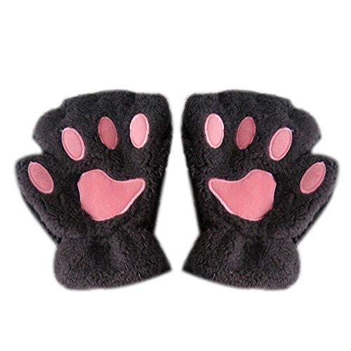 LieXing Neuartige Halloween-Handschuhe Mit Weichem Fell, Halbbedeckte Damenhandschuhe Mit Katzenplüschkrallen -