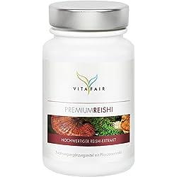 Reishi Extrakt | 500mg pro Tagesdosis | 100 Kapseln | 30% bioaktive Polysaccharide | Hochdosierter Ganoderma Lucidum | Vegan | Ohne Magnesiumstearat | Made in Germany