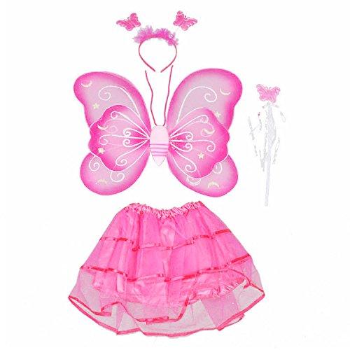 tterfly Style Kinder Kids Wing Wand Stirnband Kleider Mädchen Fairy Kostüm für Halloween Cosplay School Show Party Rose (Mädchen Butterfly Halloween-kostüm)