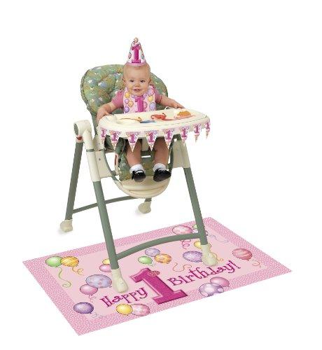 """Deko-Set zum 1. Geburtstag """"Happy 1st Birthday"""" mit Ballon-Motiv, für Hochstühle, Pink"""