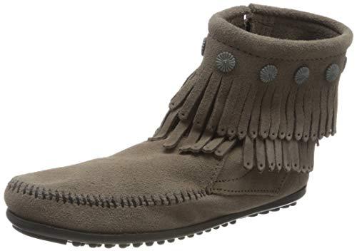 Minnetonka Damen Double Fringe Side Zip Boot Mokassin Stiefel, Grau (Grey 1T), 40 EU